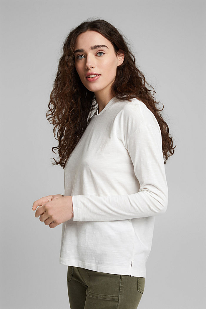 Melange jersey hoodie made of organic cotton, OFF WHITE, detail image number 5