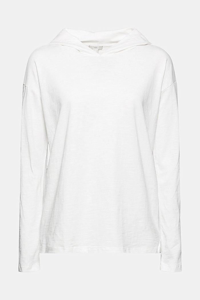 Melange jersey hoodie made of organic cotton, OFF WHITE, detail image number 7