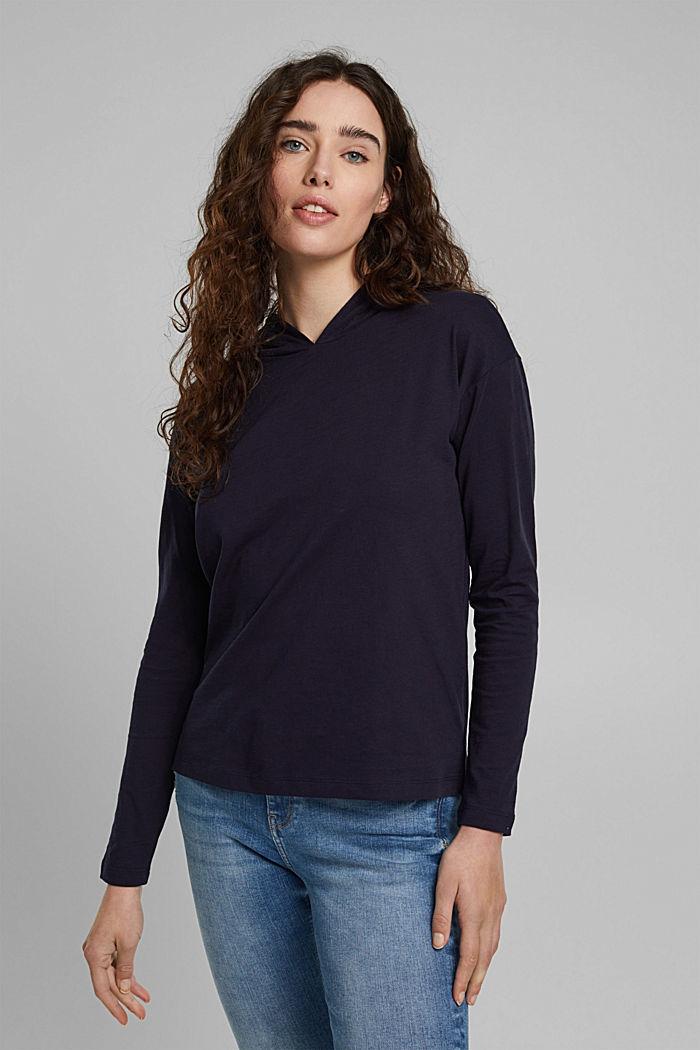Gemêleerde jersey hoodie van biologisch katoen, NAVY, detail image number 0