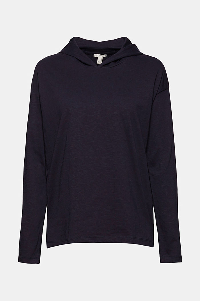 Gemêleerde jersey hoodie van biologisch katoen, NAVY, detail image number 6