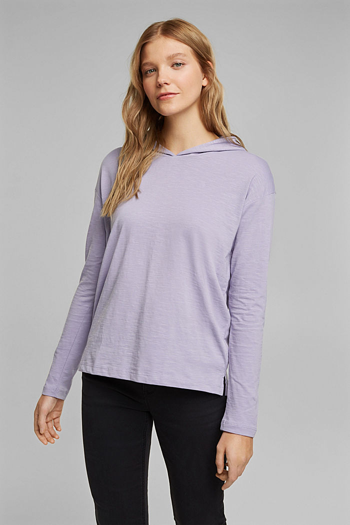 Melierter Jersey-Hoodie aus Organic Cotton, LILAC, detail image number 0