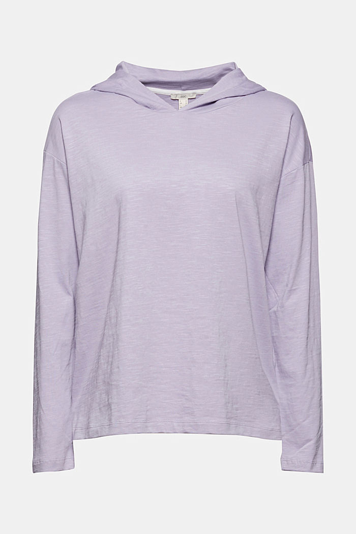 Melange jersey hoodie made of organic cotton, LILAC, overview