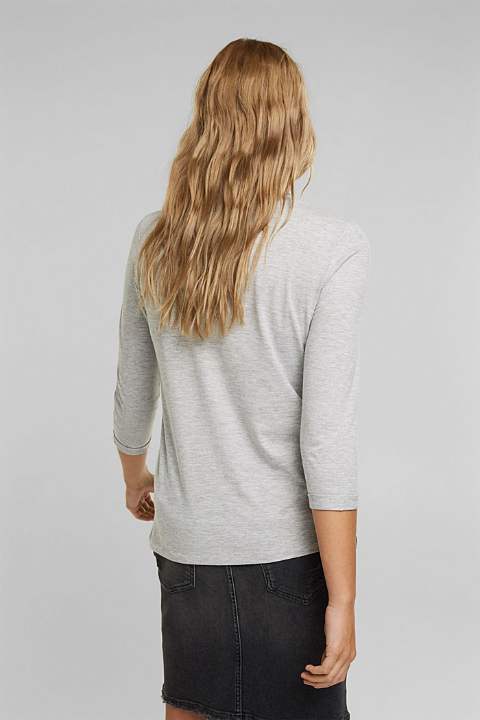 Long sleeve top made of organic cotton and LENZING™ ECOVERO, LIGHT GREY, detail image number 3