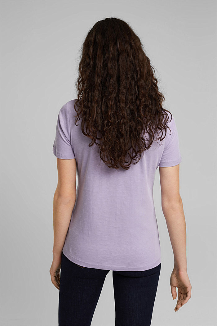V-neck T-shirt in 100% organic cotton, LILAC, detail image number 3