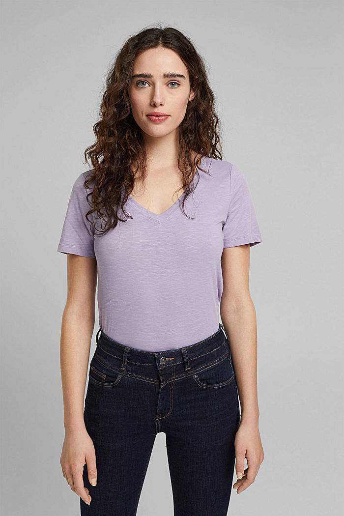 V-neck T-shirt in 100% organic cotton, LILAC, detail image number 5