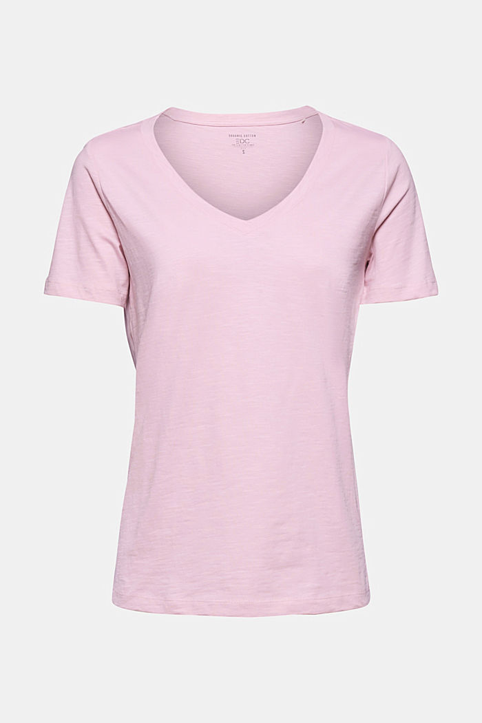 V-neck T-shirt in 100% organic cotton, PINK, detail image number 5