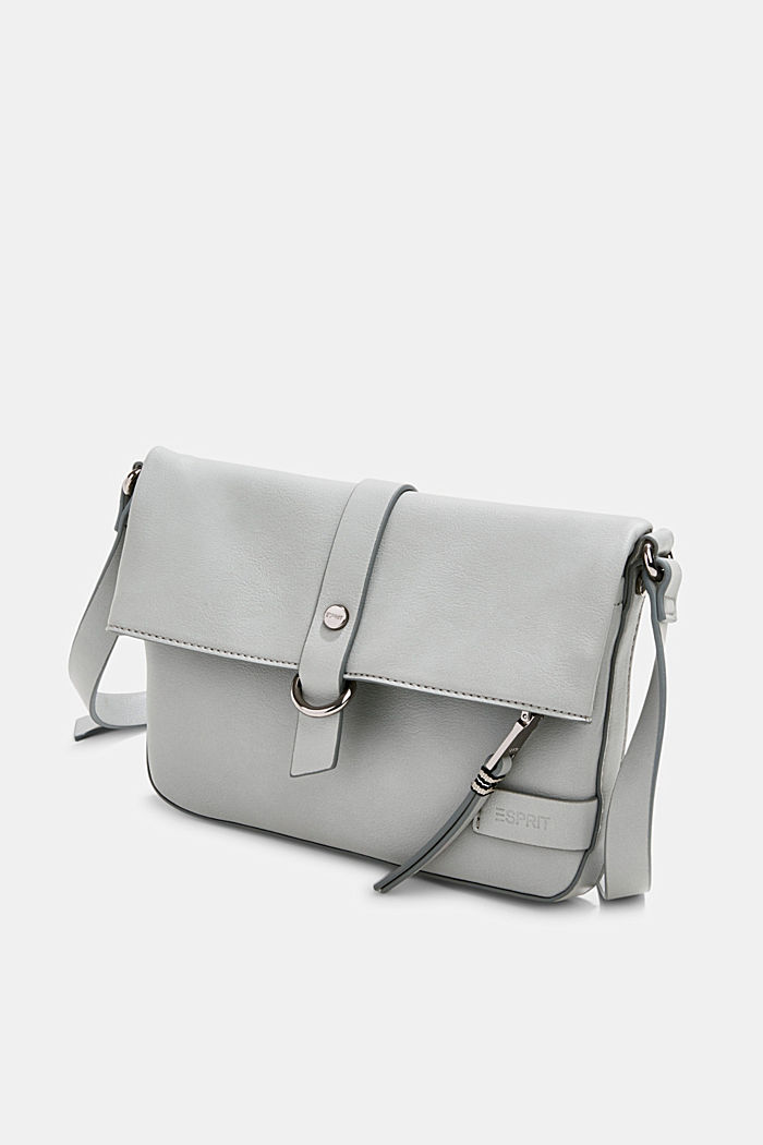 Vegan: Schultertasche in Leder-Optik, LIGHT GREY, detail image number 2