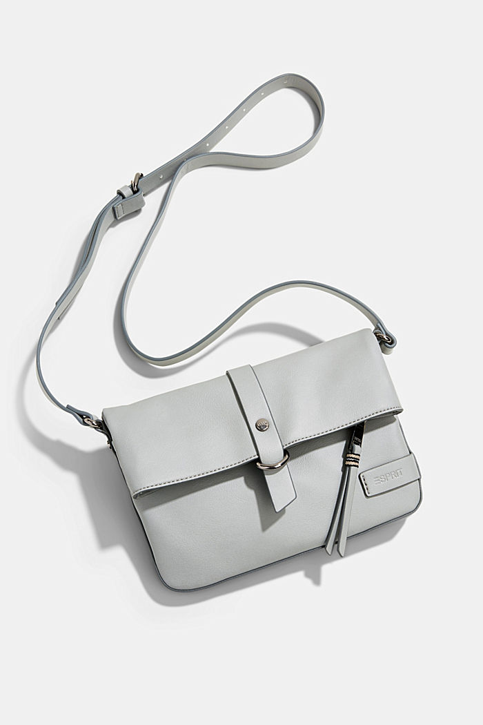 Vegan: Schultertasche in Leder-Optik, LIGHT GREY, detail image number 6