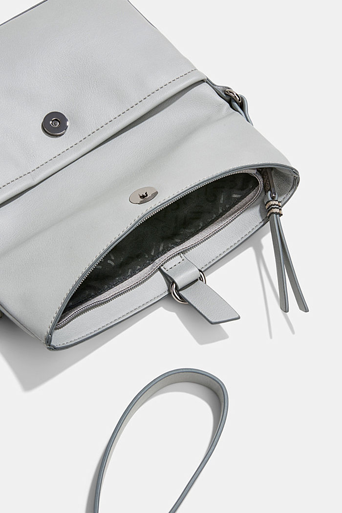 Vegan: Schultertasche in Leder-Optik, LIGHT GREY, detail image number 4