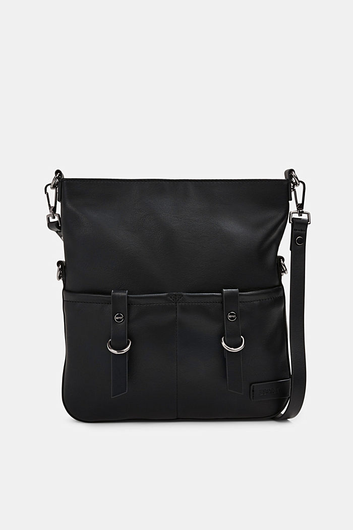 Vegan: Schultertasche in Leder-Optik, BLACK, detail image number 0