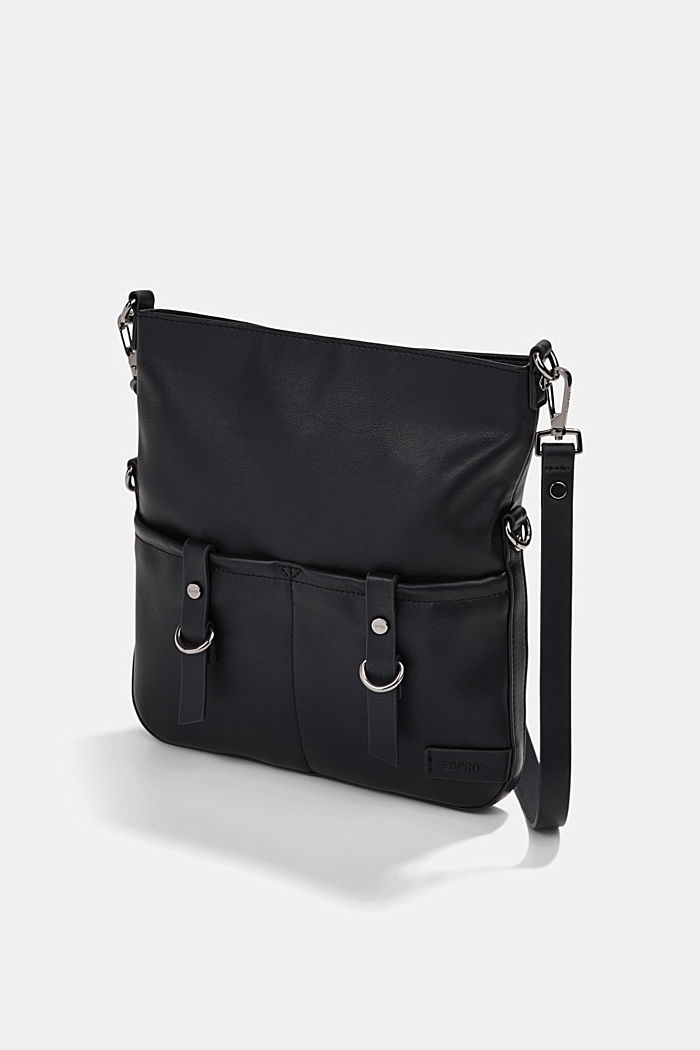 Vegan: Schultertasche in Leder-Optik, BLACK, detail image number 2