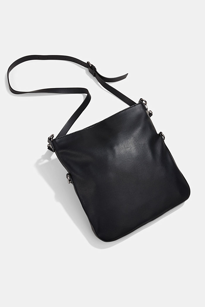 Vegan: Schultertasche in Leder-Optik, BLACK, detail image number 5