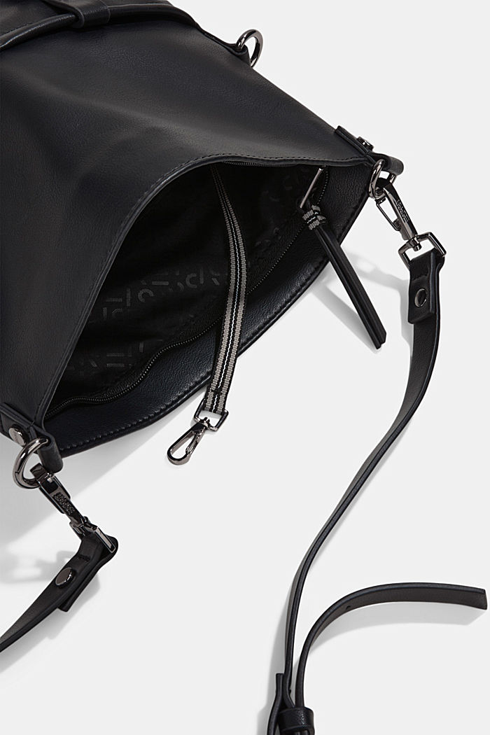Vegan: Schultertasche in Leder-Optik, BLACK, detail image number 4