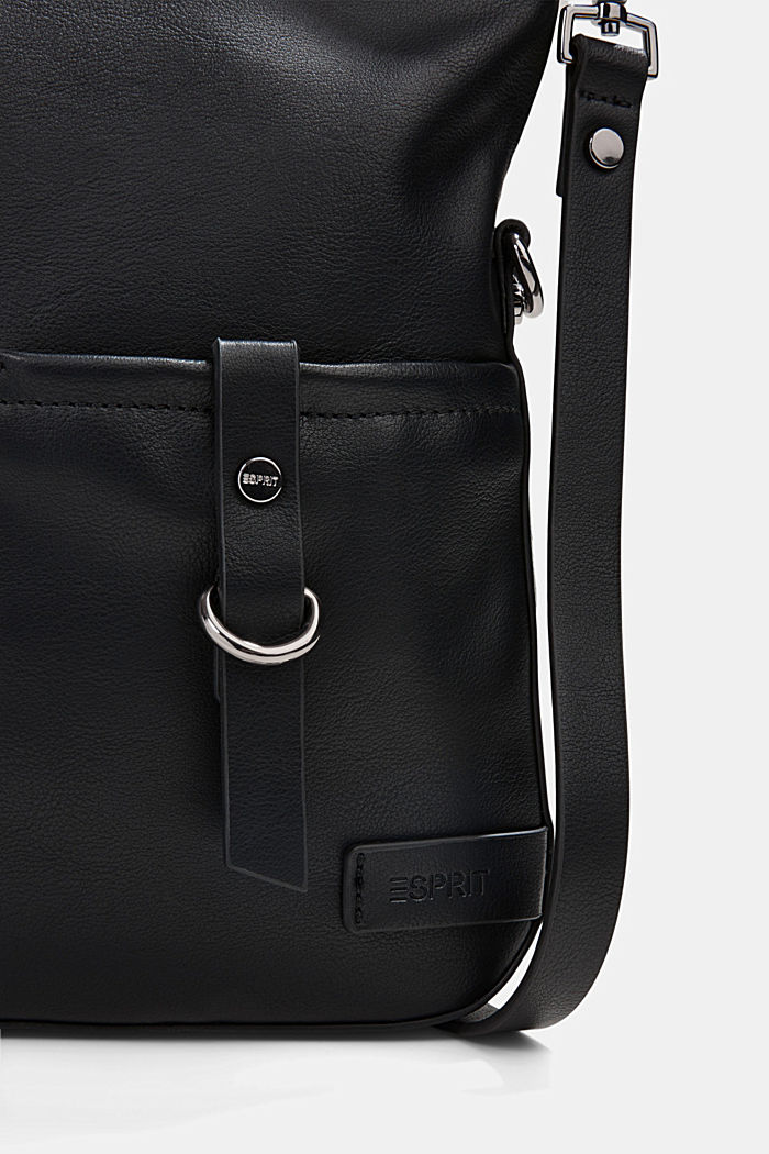 Vegan: Schultertasche in Leder-Optik, BLACK, detail image number 3