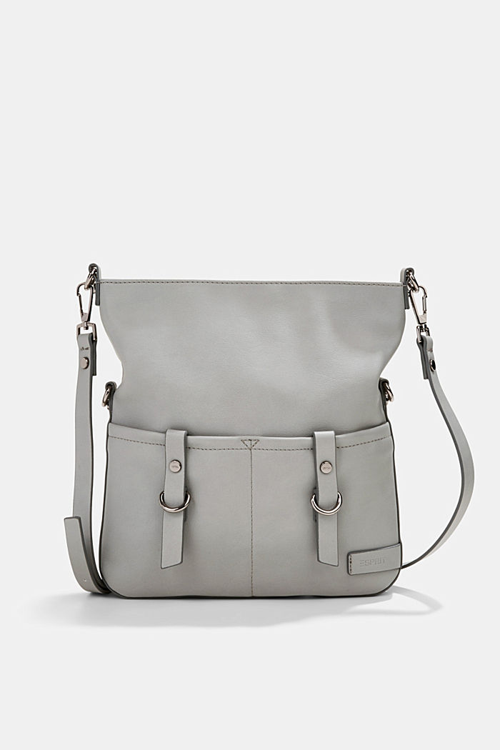 Vegan: faux leather shoulder bag, LIGHT GREY, detail image number 0