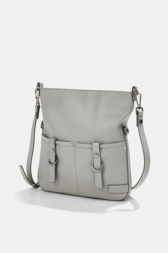 Vegan: faux leather shoulder bag, LIGHT GREY, detail image number 2