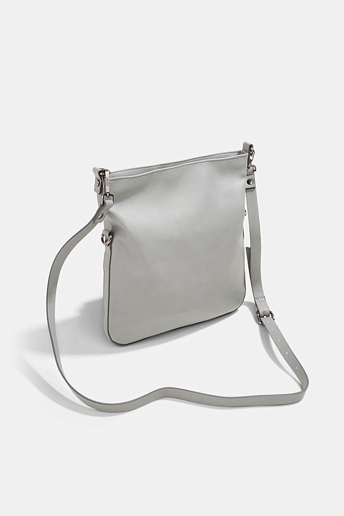 Vegan: faux leather shoulder bag, LIGHT GREY, detail image number 5