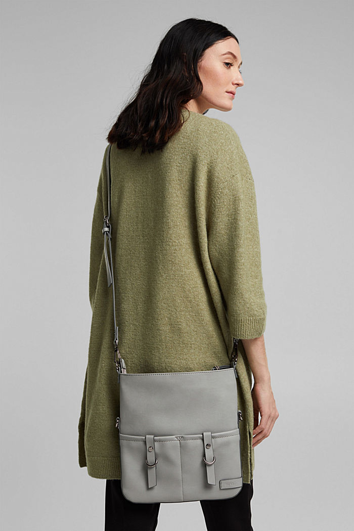 Vegan: faux leather shoulder bag, LIGHT GREY, detail image number 6