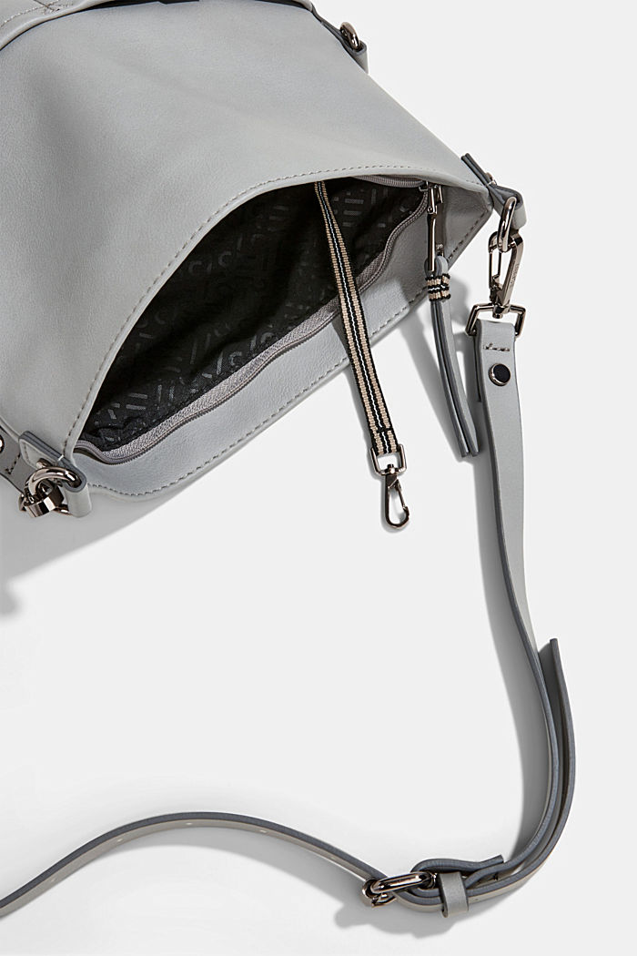 Vegan: faux leather shoulder bag, LIGHT GREY, detail image number 4