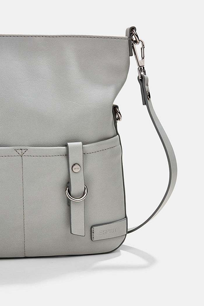 Vegan: faux leather shoulder bag, LIGHT GREY, detail image number 3
