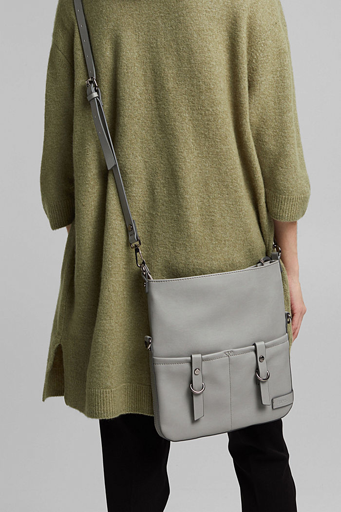 Vegan: faux leather shoulder bag, LIGHT GREY, detail image number 1