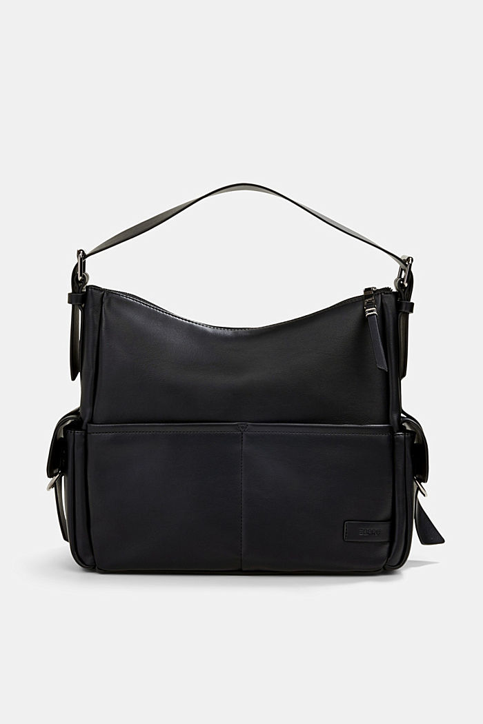 Vegan: faux leather hobo bag, BLACK, detail image number 0