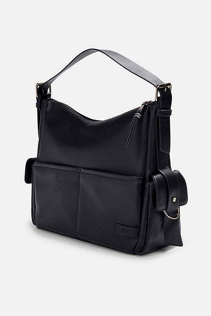Vegan: Hobo Bag in Leder-Optik, BLACK, detail image number 2