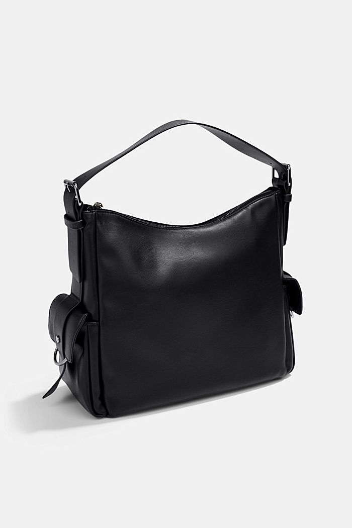 Vegan: faux leather hobo bag, BLACK, detail image number 5