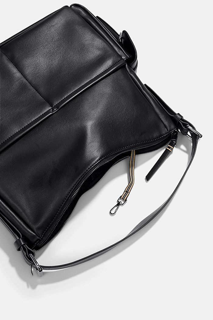 Vegan: Hobo Bag in Leder-Optik, BLACK, detail image number 4