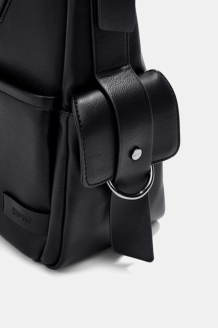 Vegan: faux leather hobo bag, BLACK, detail image number 3