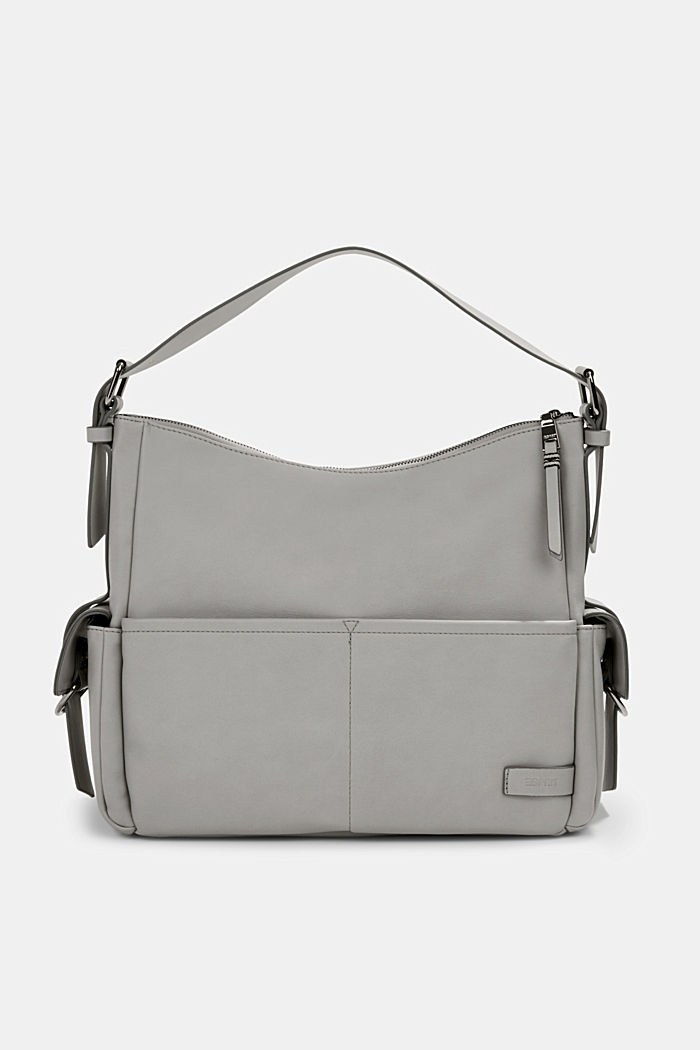 Vegan: faux leather hobo bag, LIGHT GREY, detail image number 0