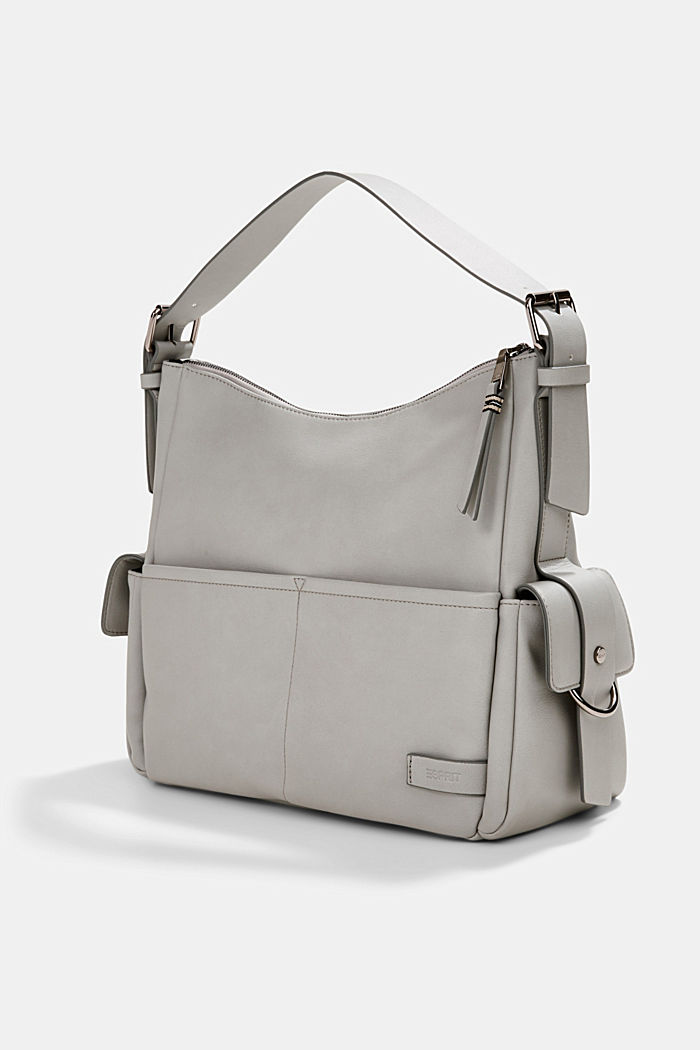 Vegan: faux leather hobo bag, LIGHT GREY, detail image number 2