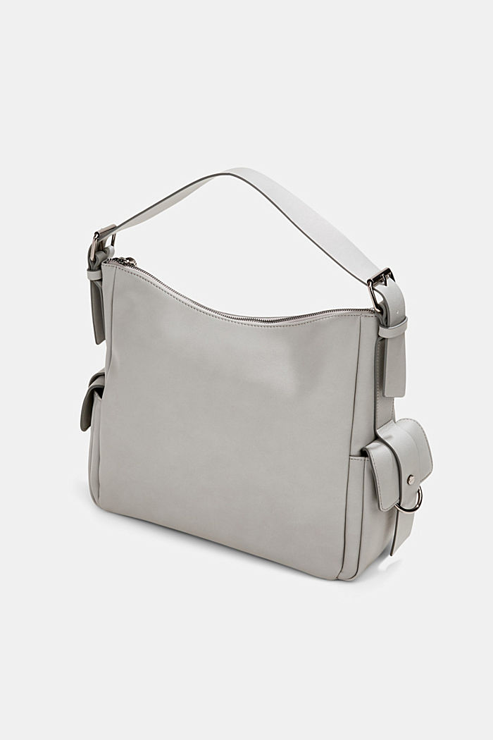 Vegan: faux leather hobo bag, LIGHT GREY, detail image number 5