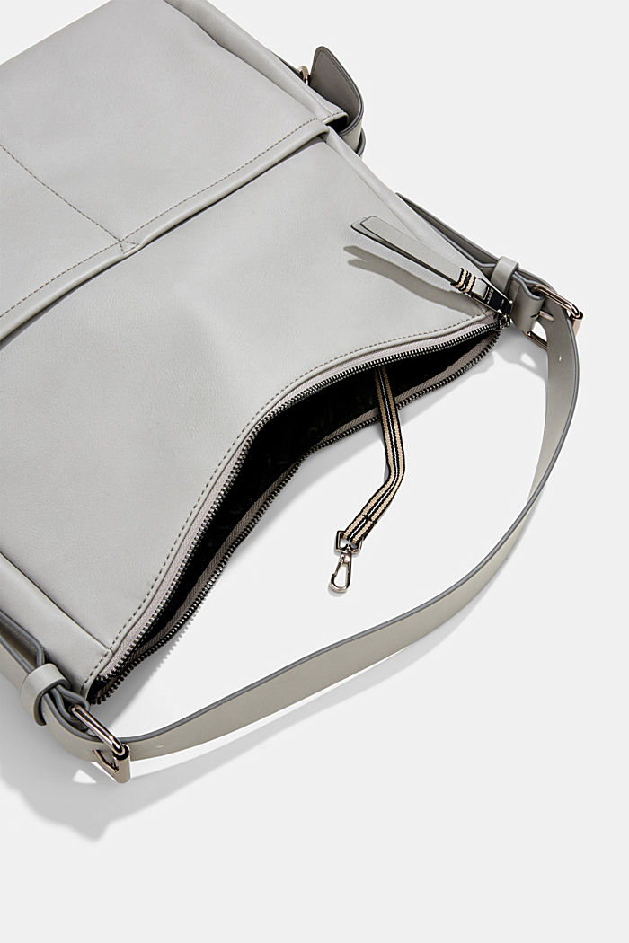 Vegan: faux leather hobo bag, LIGHT GREY, detail image number 4