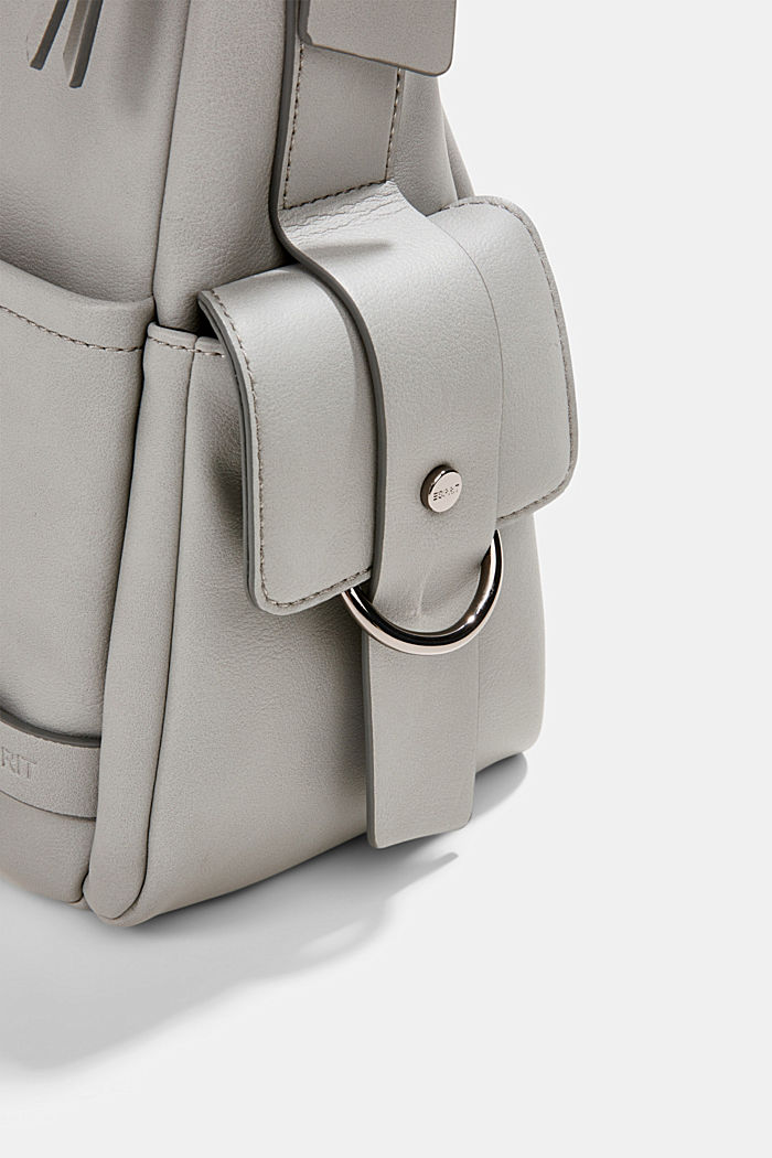 Vegan: faux leather hobo bag, LIGHT GREY, detail image number 3