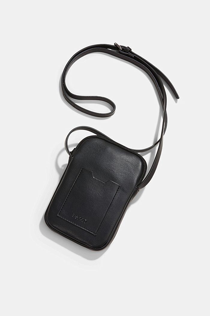 Vegan: Smartphone-Tasche in Leder-Optik, BLACK, detail image number 4