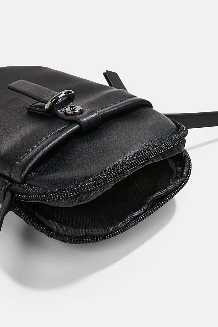 Vegan: Smartphone-Tasche in Leder-Optik, BLACK, detail image number 3