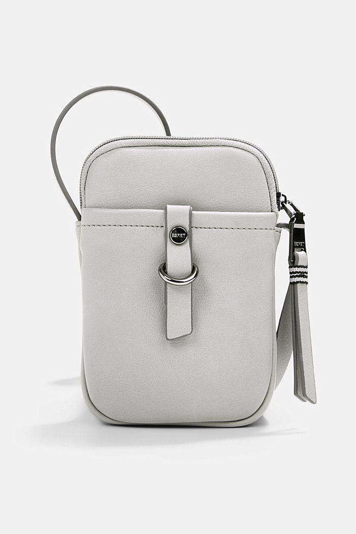 Vegan: Smartphone bag in faux leather, LIGHT GREY, detail image number 0