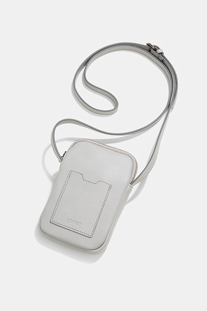 Vegan: Smartphone-Tasche in Leder-Optik, LIGHT GREY, detail image number 4