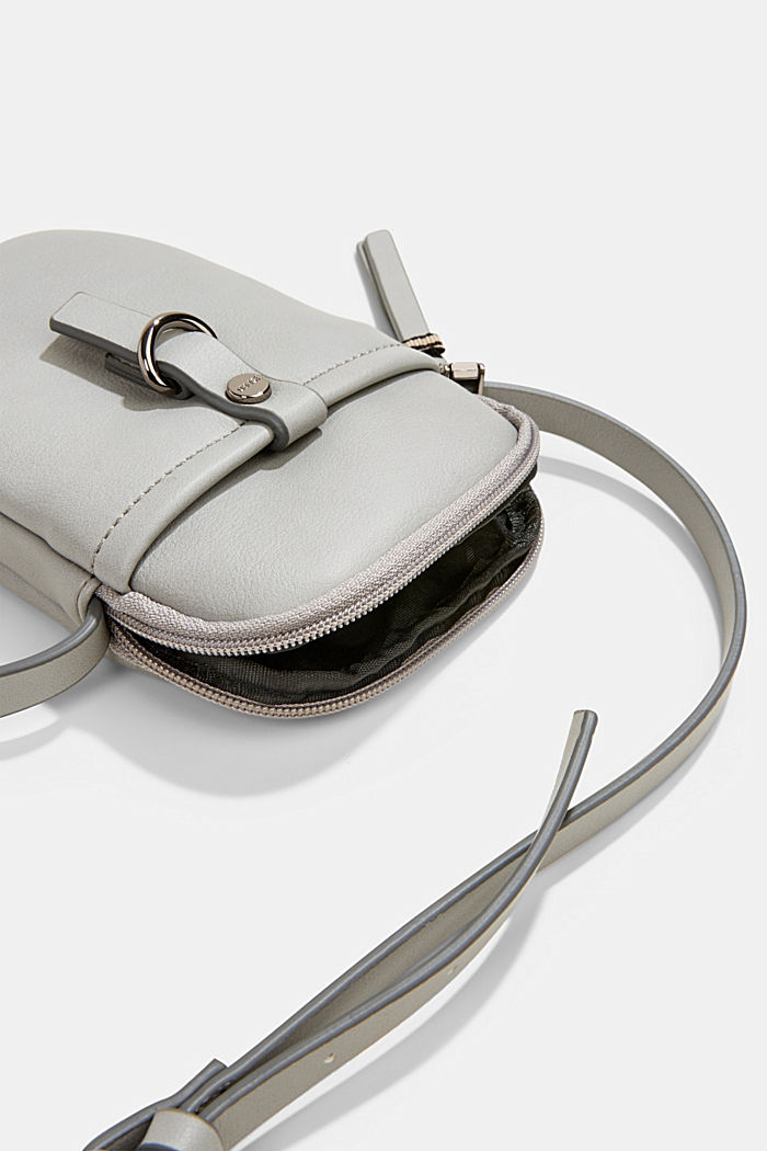 Vegan: Smartphone bag in faux leather, LIGHT GREY, detail image number 3