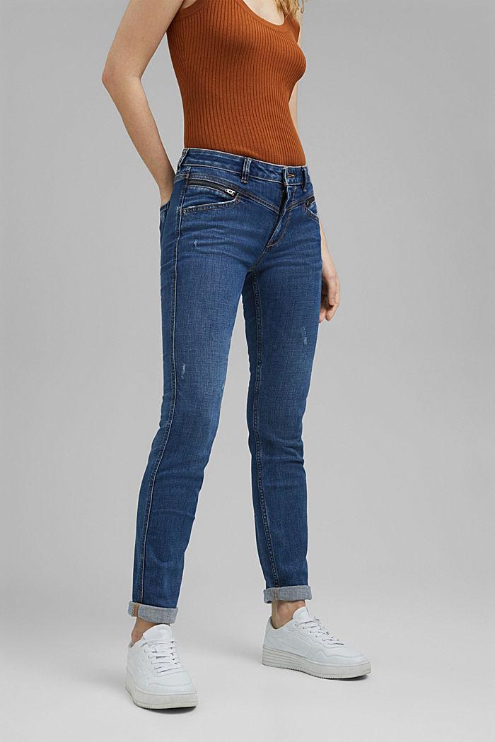 Stretch-Jeans mit Zipper-Details, BLUE MEDIUM WASHED, detail image number 0