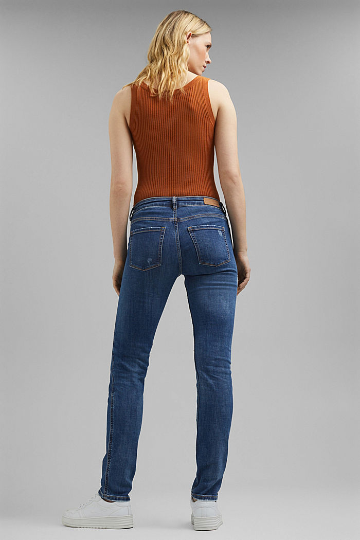 Stretch-Jeans mit Zipper-Details, BLUE MEDIUM WASHED, detail image number 3