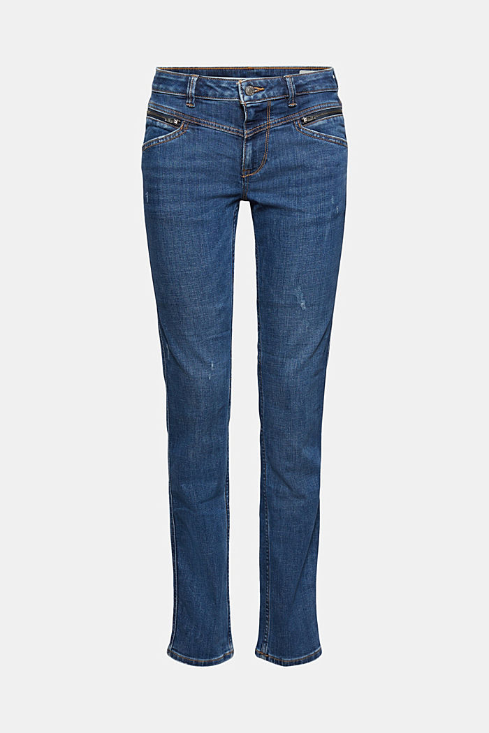 Stretch-Jeans mit Zipper-Details, BLUE MEDIUM WASHED, overview