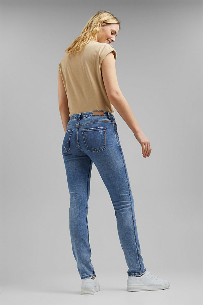 Stretch jeans with zip details, BLUE LIGHT WASHED, detail image number 3
