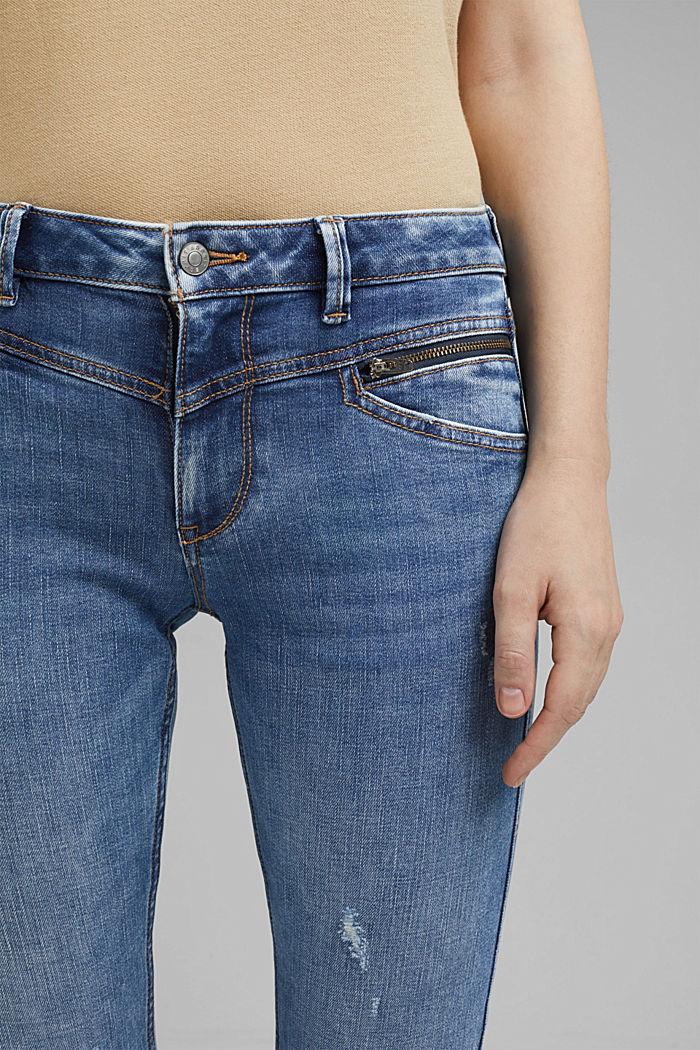 Stretch-Jeans mit Zipper-Details, BLUE LIGHT WASHED, detail image number 2