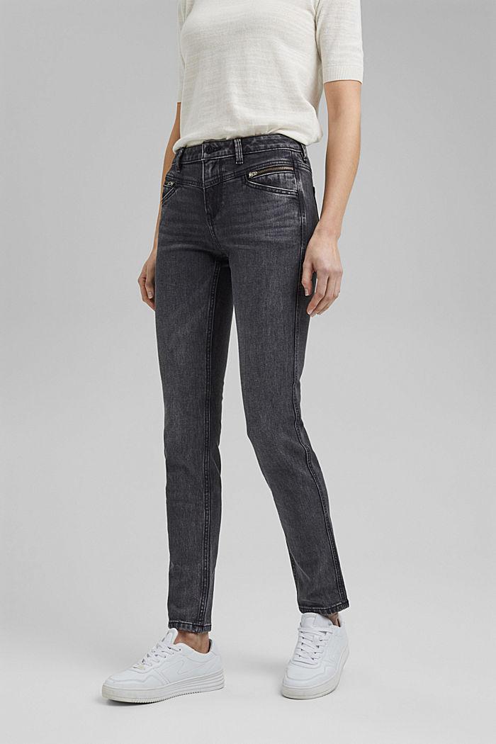 Stretch-Jeans mit Zipper-Detail, BLACK DARK WASHED, detail image number 0