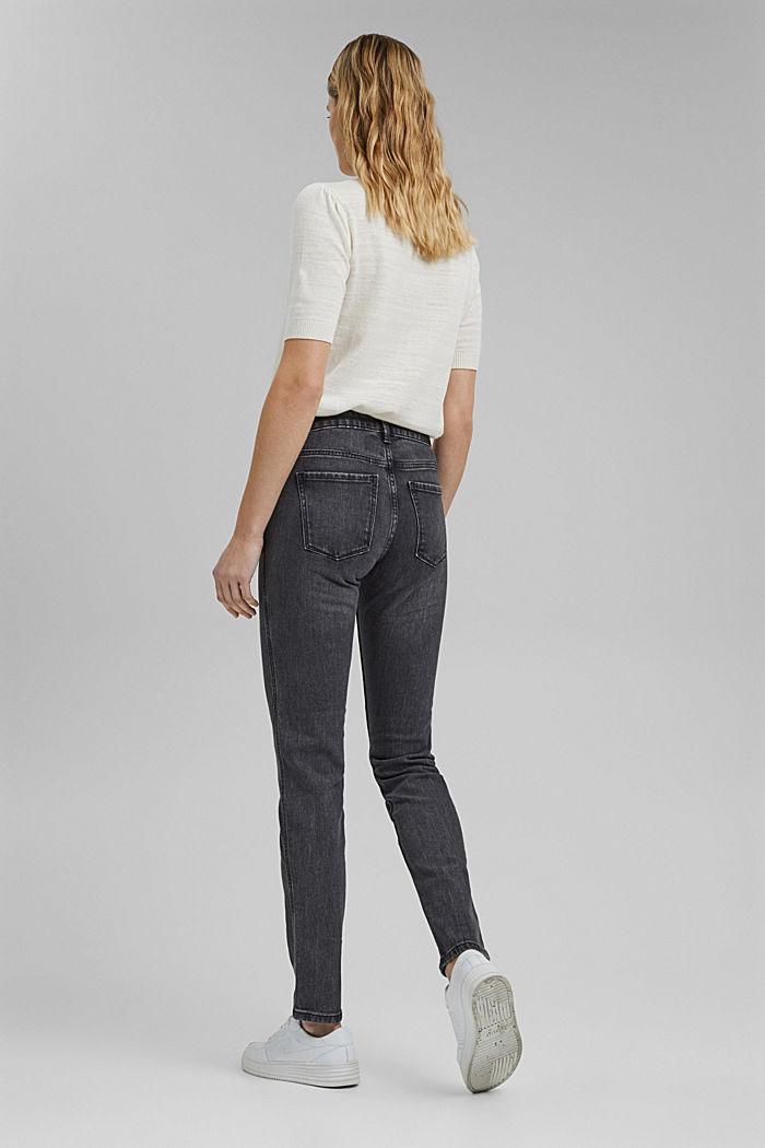 Stretch-Jeans mit Zipper-Detail, BLACK DARK WASHED, detail image number 3