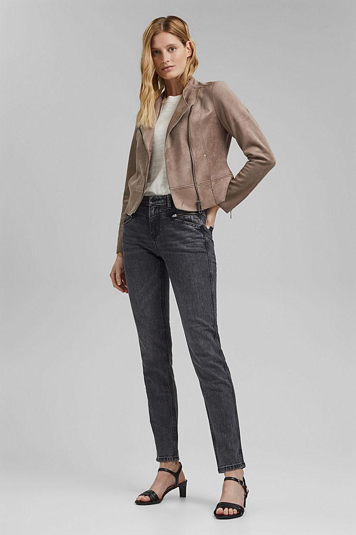 Stretch-Jeans mit Zipper-Detail, BLACK DARK WASHED, detail image number 1