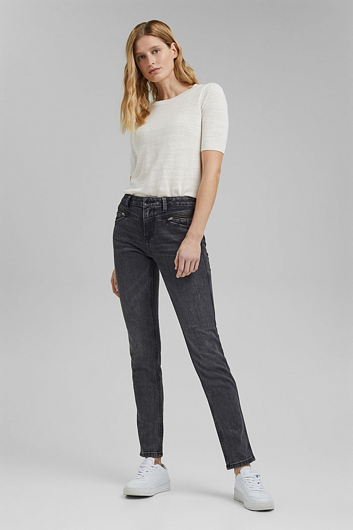 Stretch-Jeans mit Zipper-Detail, BLACK DARK WASHED, detail image number 6