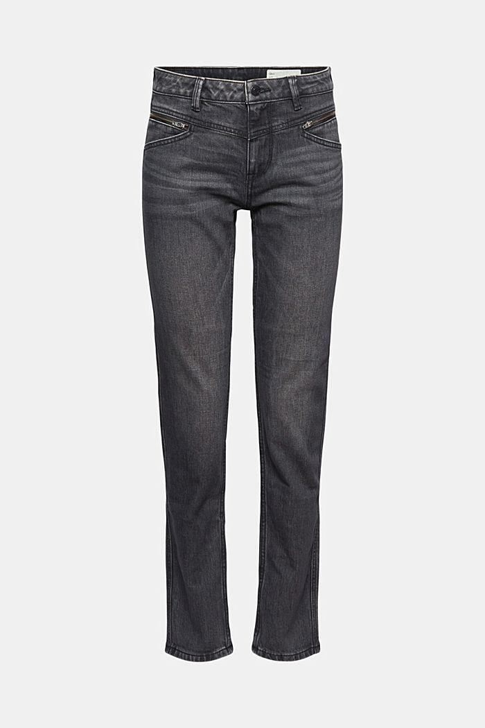 Stretch-Jeans mit Zipper-Detail